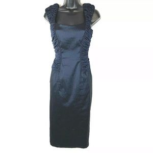 Tadashi Dress 4 blue ruched cocktail midi sheath
